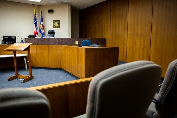 The view from the jury box in the courtroom.