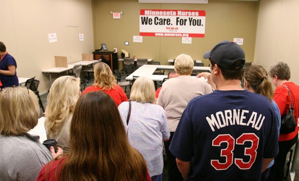 Nurses line up to vote