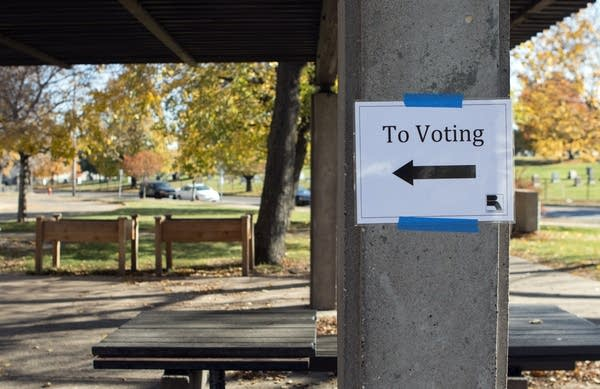 Signs point to a polling place in St. Paul.