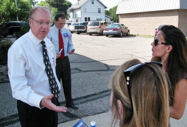 Jim Hagedorn campaigning in downtown Mankato.