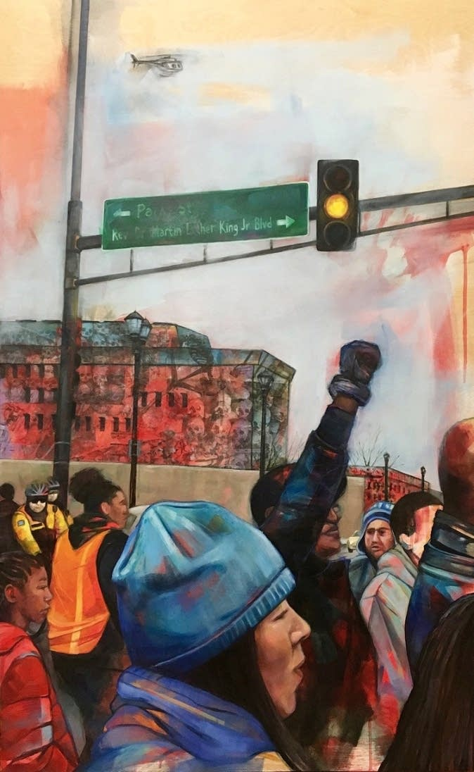 Leslie Barlow's depiction of a Black Lives Matter march