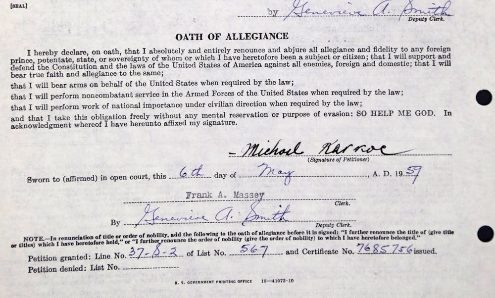 Karkoc's oath of allegiance