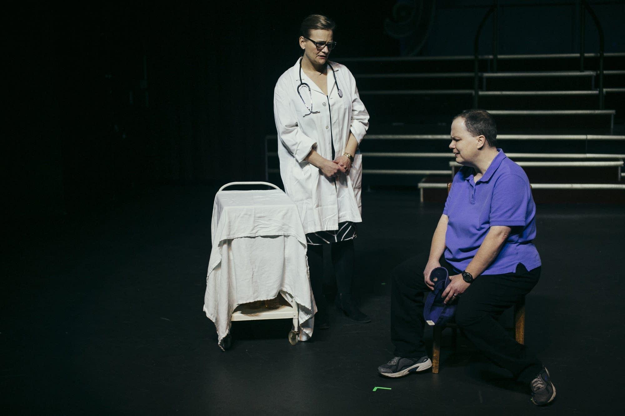 TJ Carley and Mykel Pennington rehearse a scene