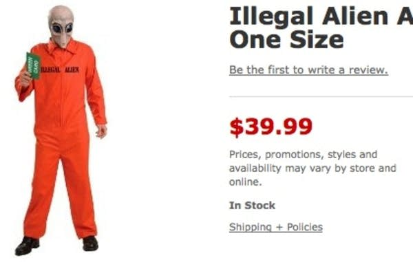 u0027Illegal Alienu0027 costume u0027  sc 1 st  MPR News & Target to pull controversial u0027illegal alienu0027 Halloween costume | MPR ...