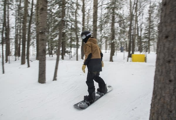 A person snowboards through trees