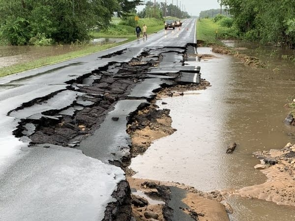 A washed out road.