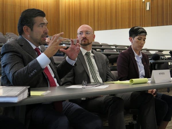 Executives at Monterrey Security speak with the private detective board.