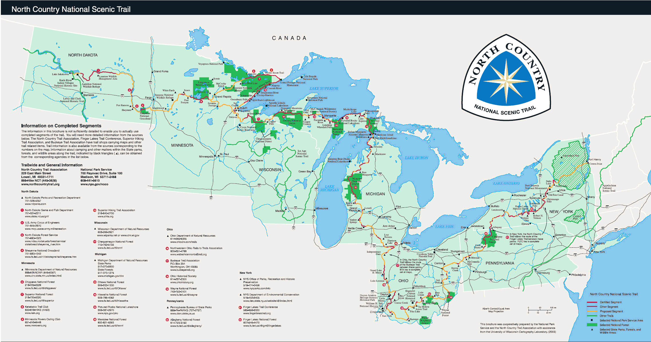Map of the North Country National Scenic Trail
