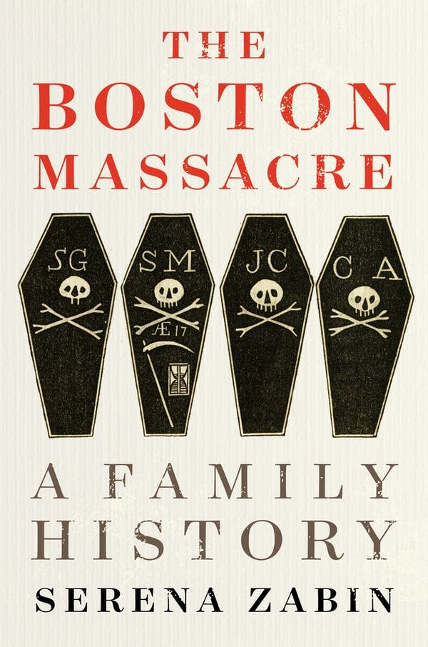 Four coffins on the front of a book jacket.