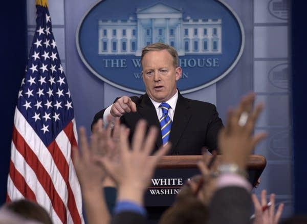 White House press secretary Sean Spicer calls on a reporter Tuesday.