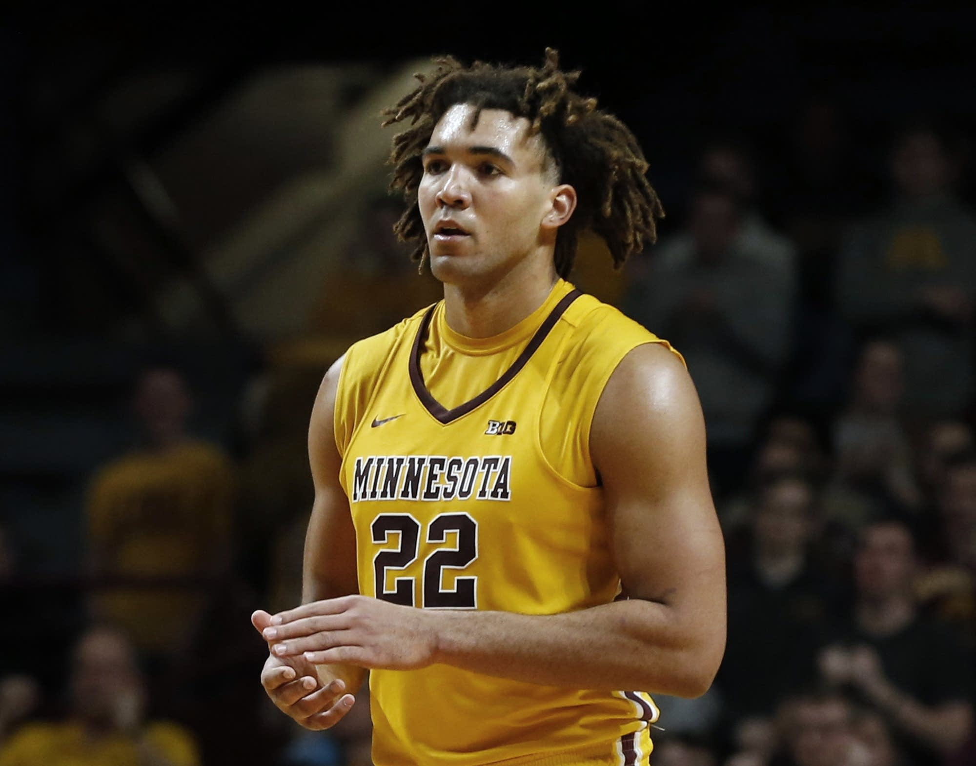 Minnesota center Reggie Lynch plays against Illinois in the second half of  an NCAA college basketball game in Minneapolis Wednesday. Jim Mone | AP
