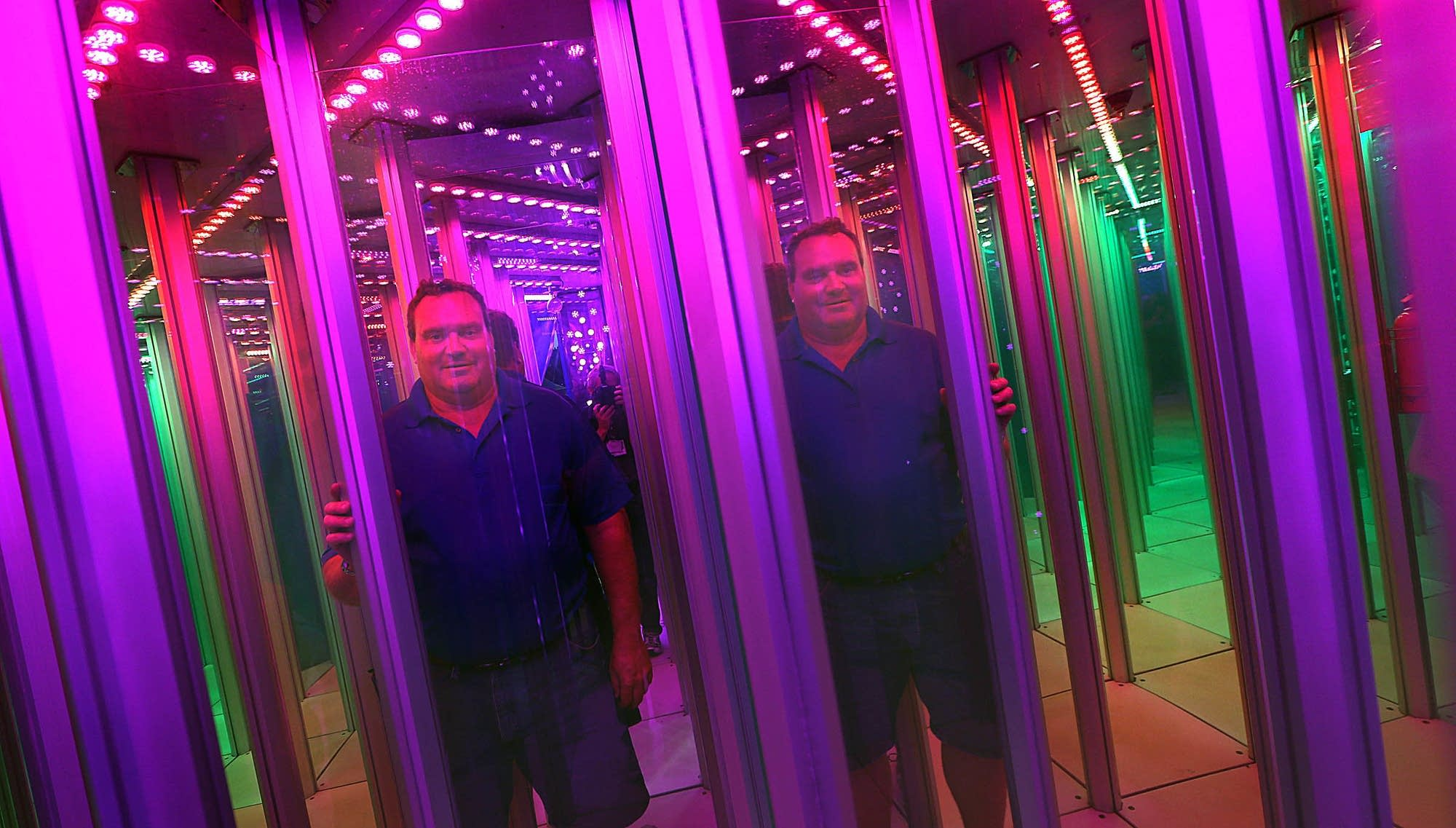 Michael Wood standing inside the Magic Maze.