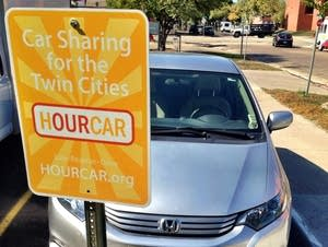 An HourCar sits near the Hamline University campus.