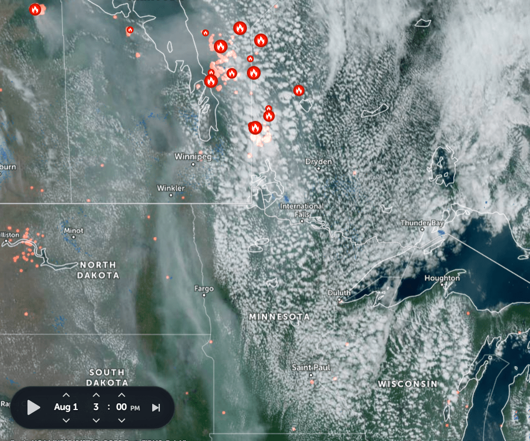 Areas of smoke and cloud cover Tuesday