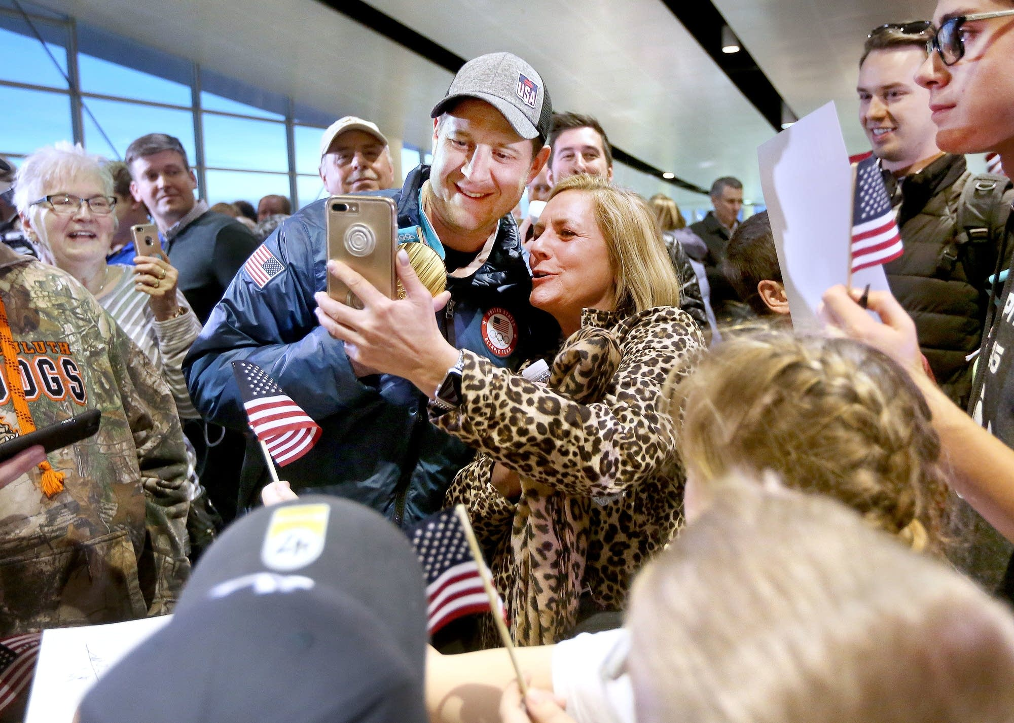 Nancy Litman of Duluth, a friend of John Shuster, takes a selfie.