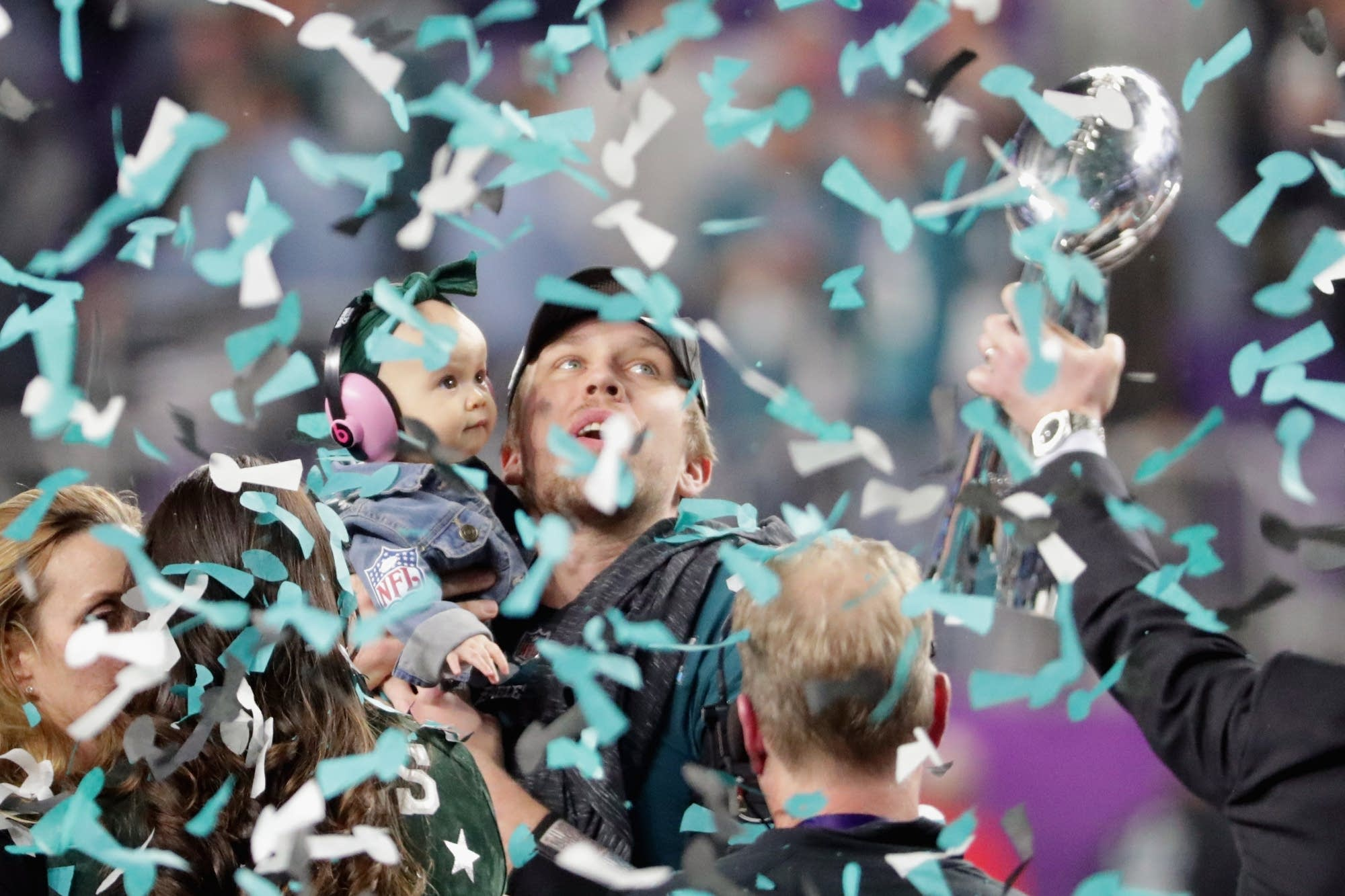 Nick Foles of the Philadelphia Eagles celebrates with his daughter Lily.
