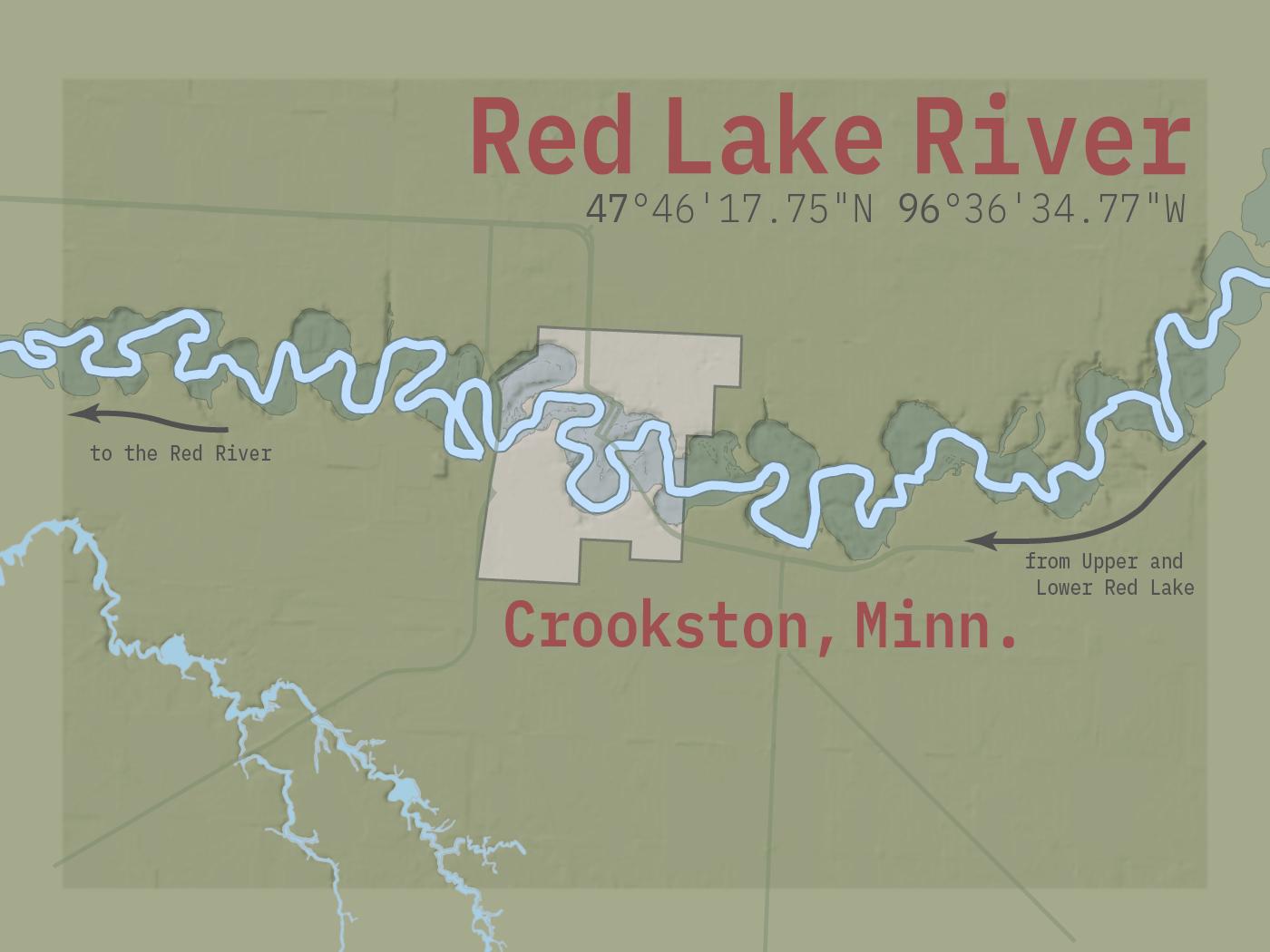 The Red Lake River winds through Crookston, Minn.