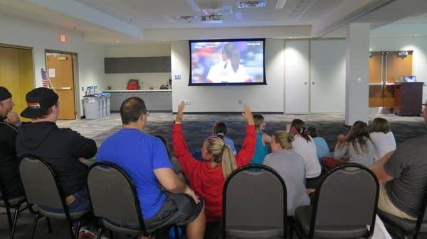 Fans watch a Women's World Cup game