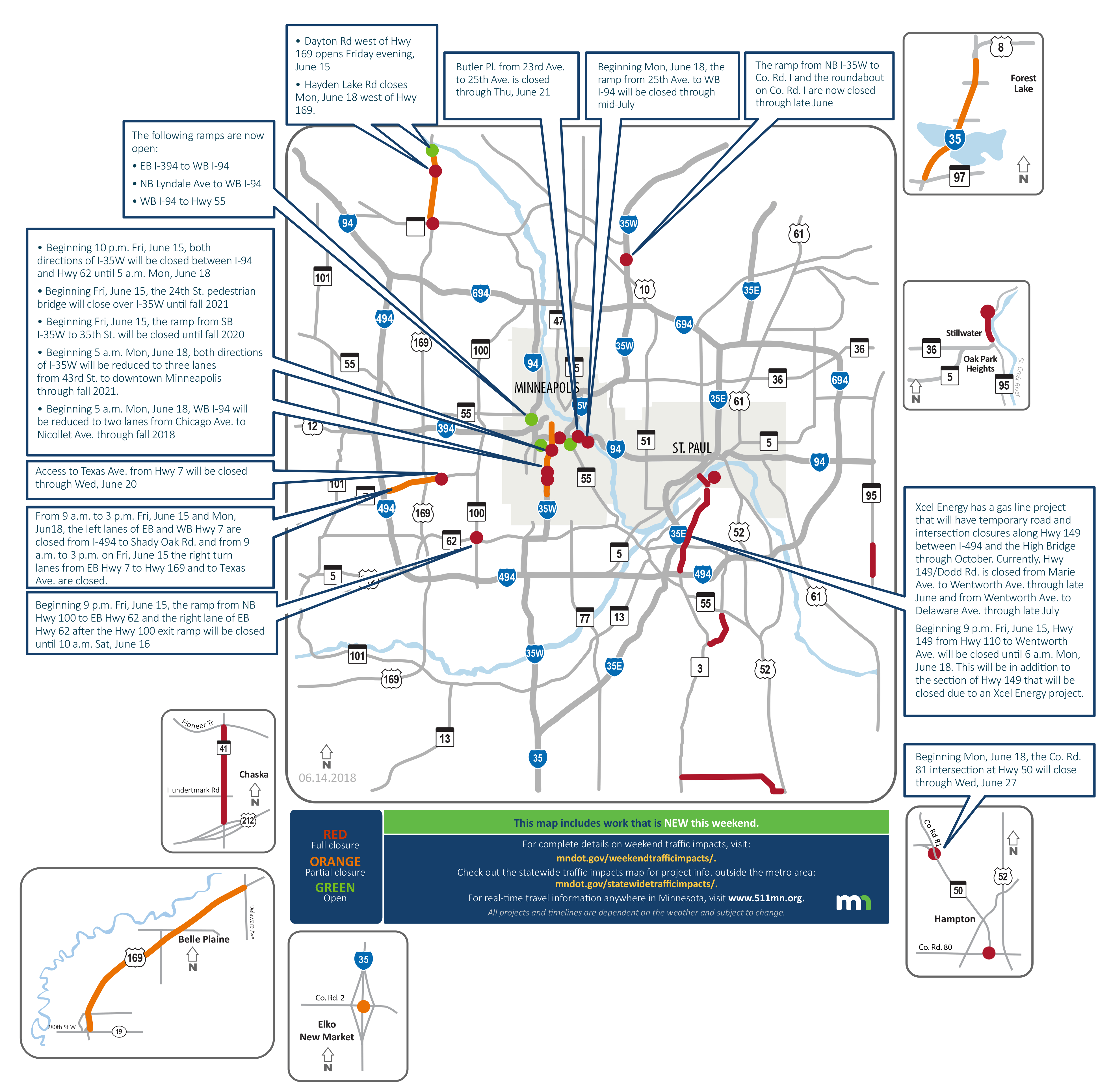 A map showing the current weekend traffic impacts