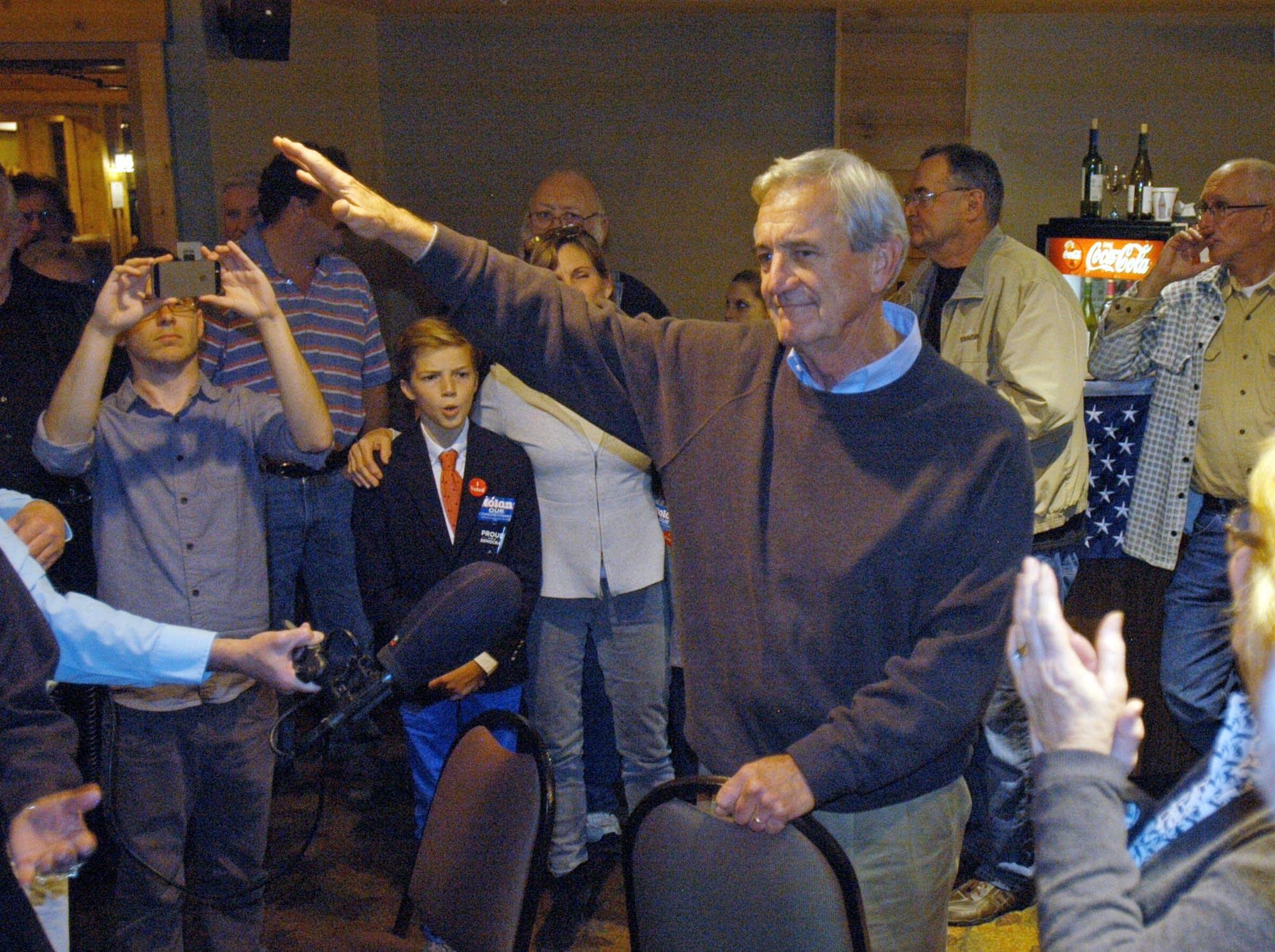 Rep. Rick Nolan addresses supporters.