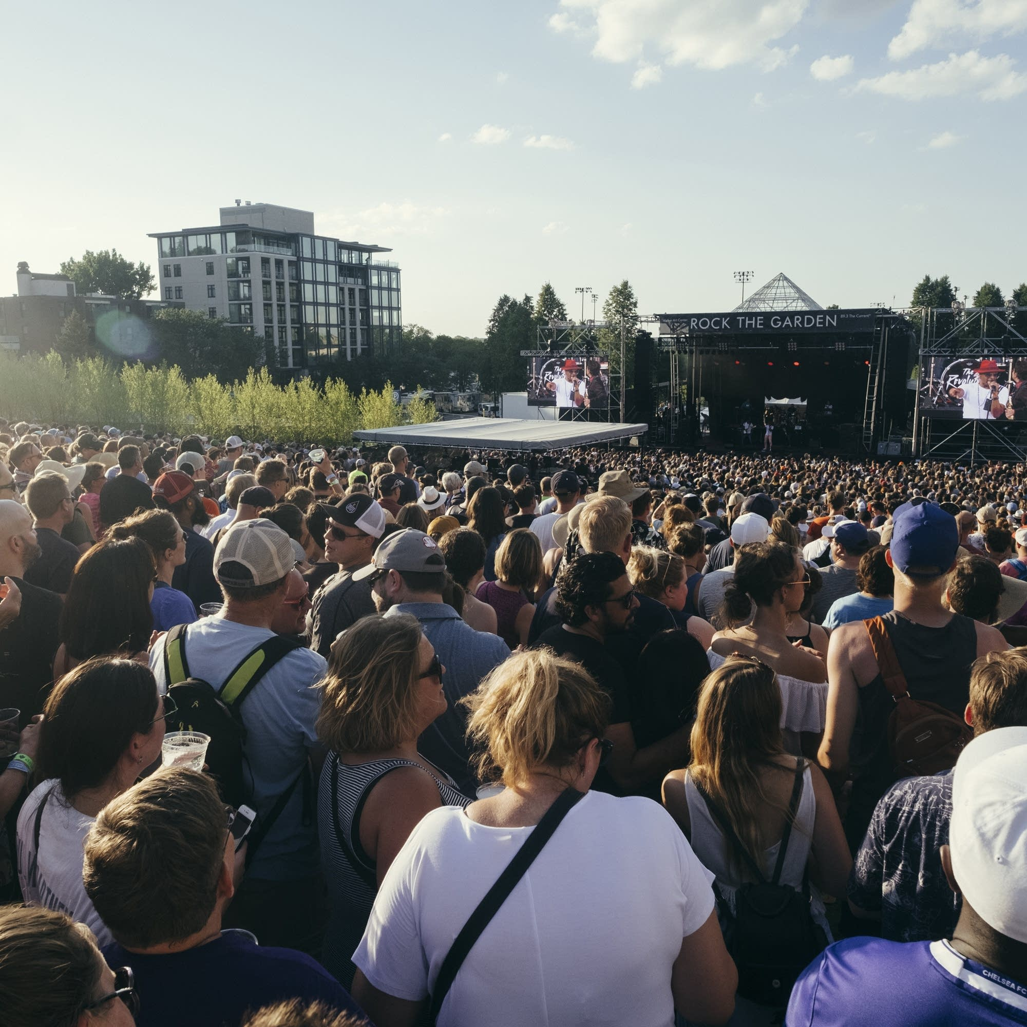 Crowds at sunset during Rock the Garden