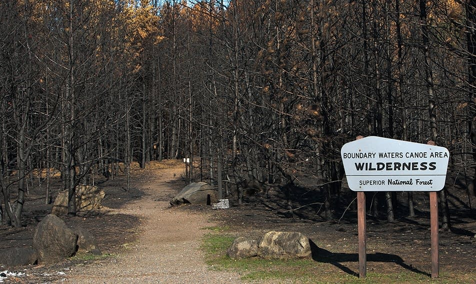 Burned BWCA entry point