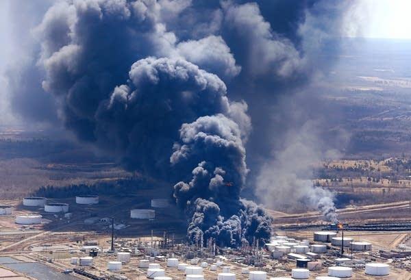 The Husky Energy refinery burns as seen from the air Thursday.
