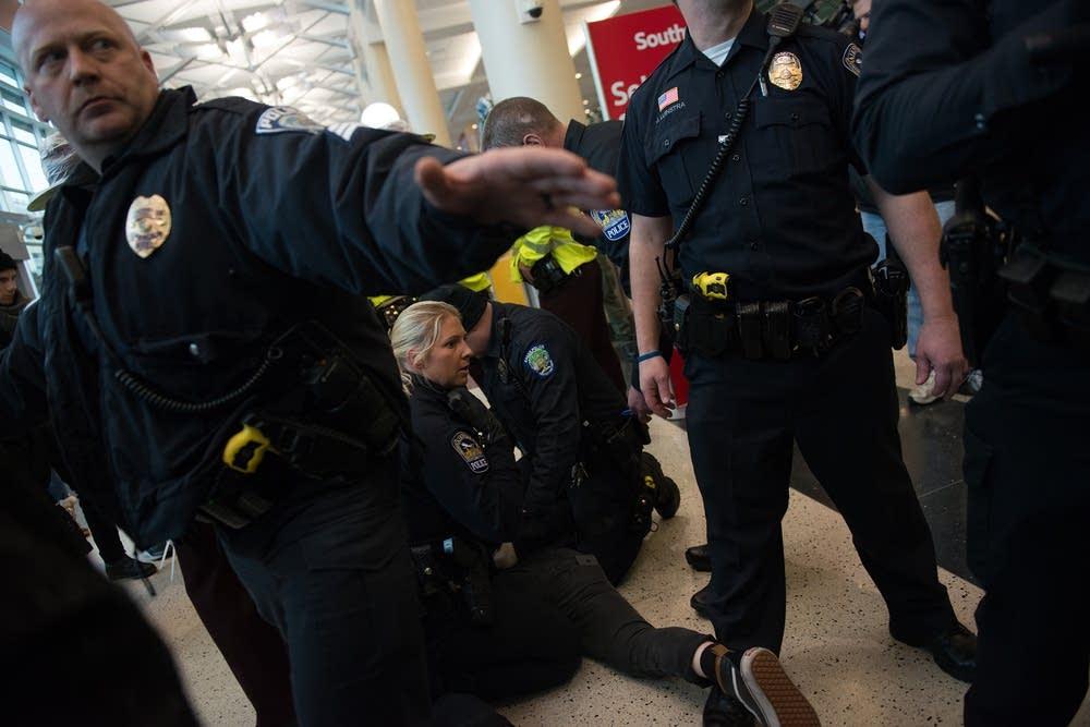 Arresting a protester