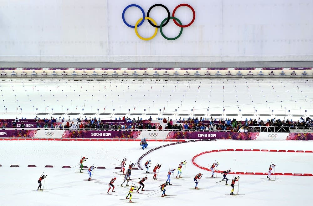 General view during the Biathlon Men's Relay