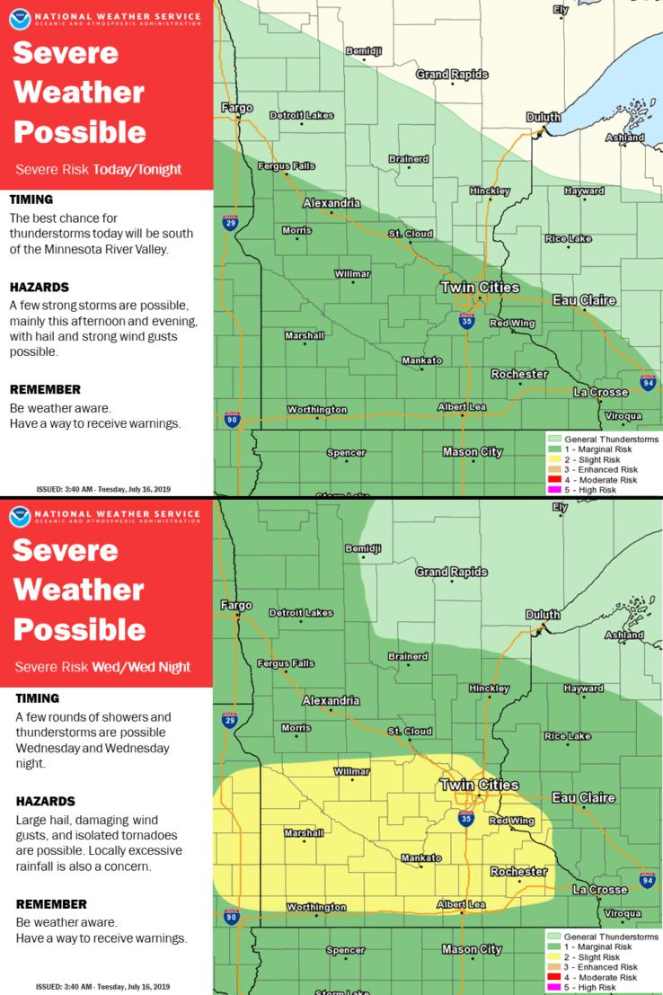 Possible severe weather on July 16 across Minnesota