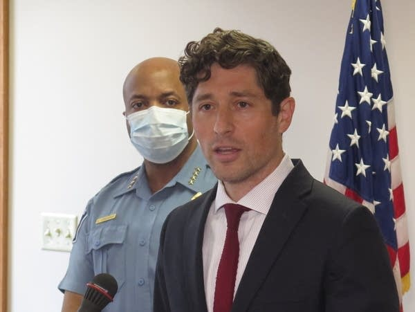 Mayor Jacob Frey, right, and Police Chief Medaria Arradondo