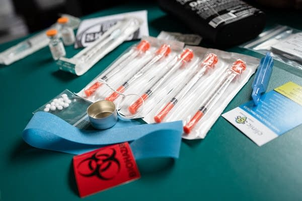 Clean syringes and other items involved in intravenous drug use.