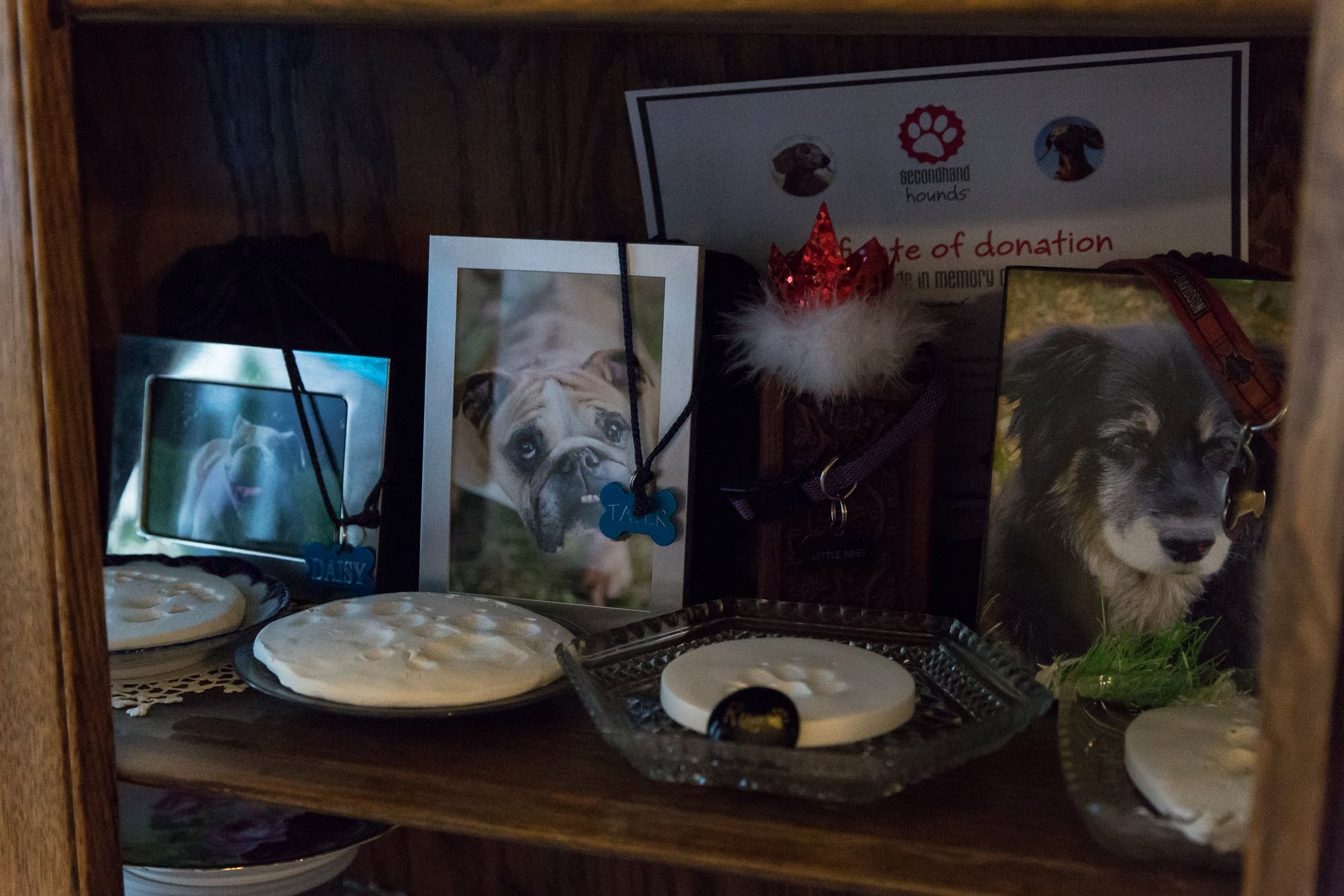 Photos, paw prints and dog tags sit on a shelf in the Hill's home.
