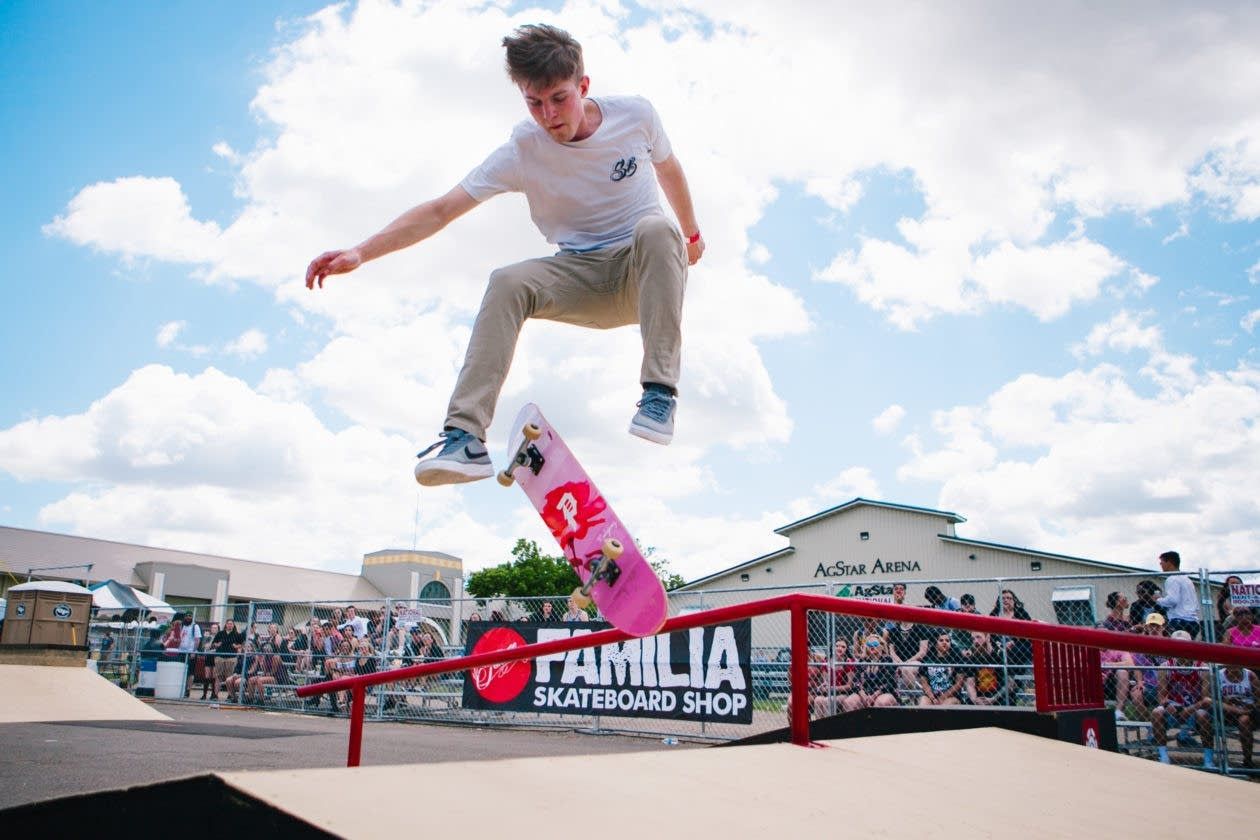 A skateboarder mid-air at Soundset 2017