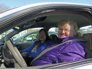Volunteer driver Doris Larson and passenger Susan Marrs
