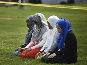 A group of women take part in afternoon prayers.