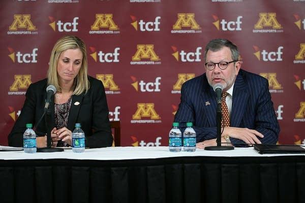 Beth Goetz, left, and Eric Kaler