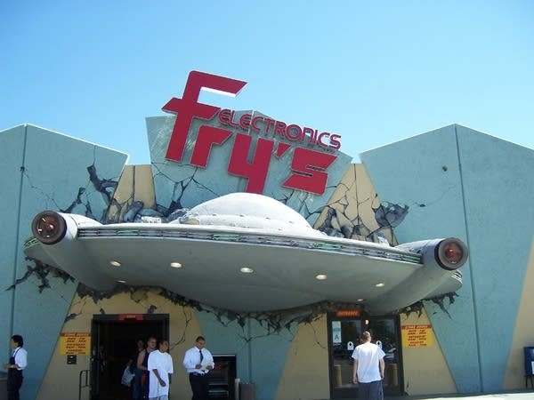 Outside of Fry's building that looks like spaceship crashed into it
