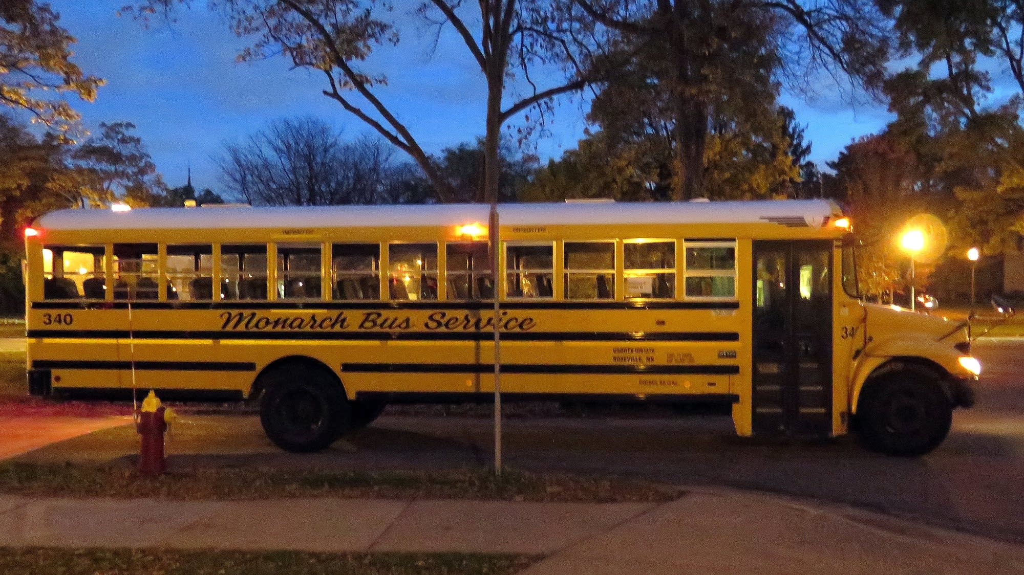 Busses leave after morning drop-off.