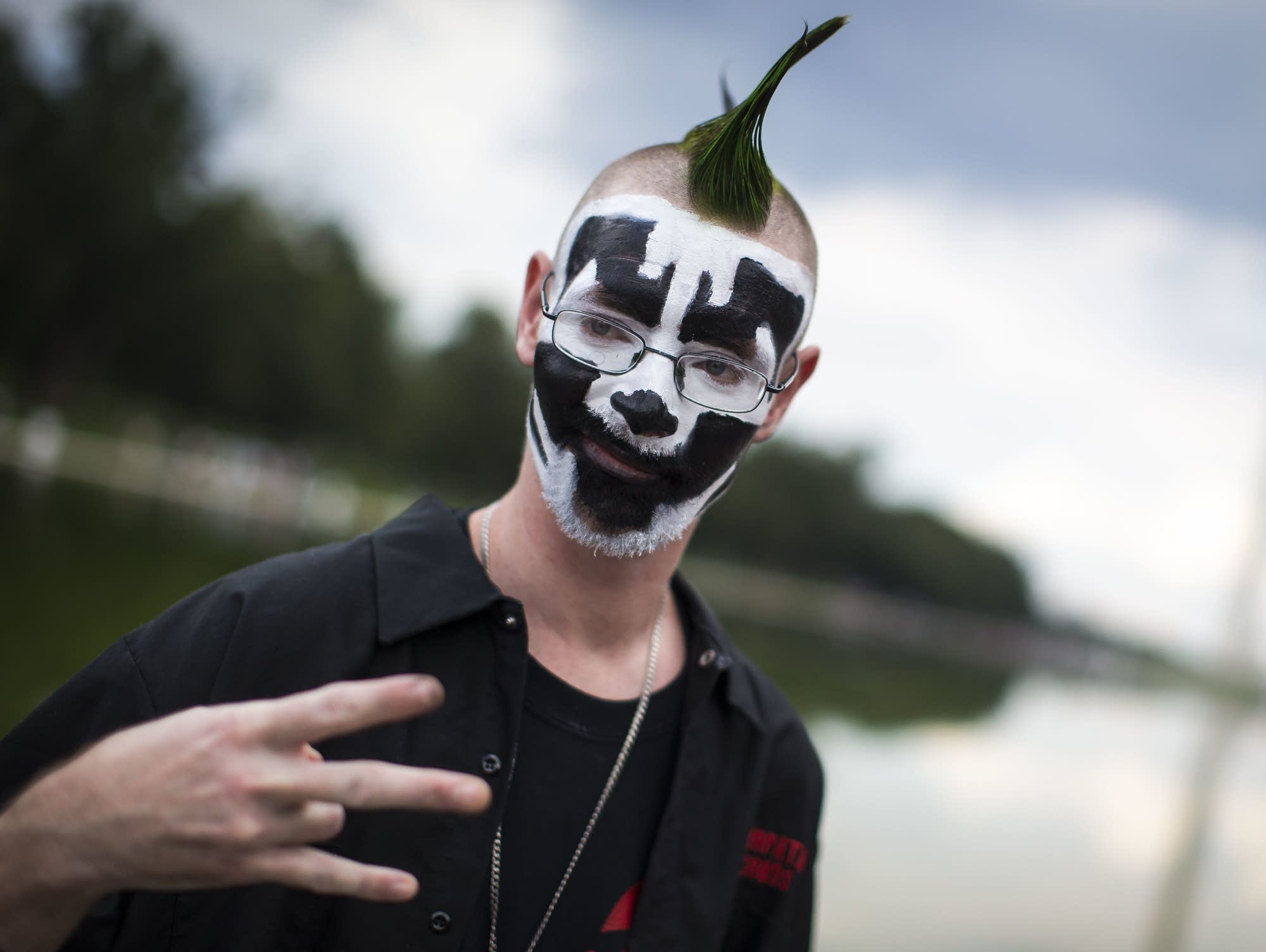 An Insane Clown Posse fan participates in the 2017 Juggalo March.