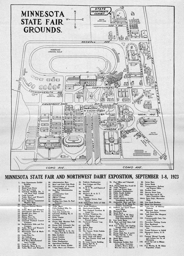 A map of the 1923 Minnesota State Fair