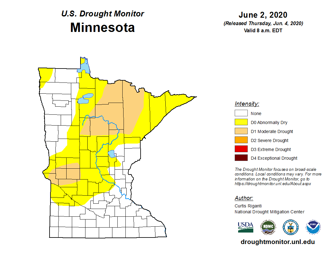 Latest U.S. Drought Monitor for Minnesota