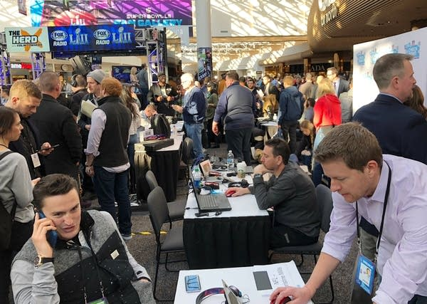 Media members in town to cover the Super Bowl broadcast from MOA.