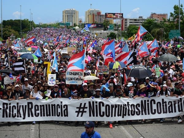 Protesters are demanding Gov. Ricardo Rossello step down