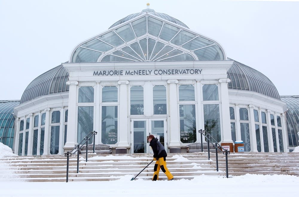 Shoveling at the conservatory
