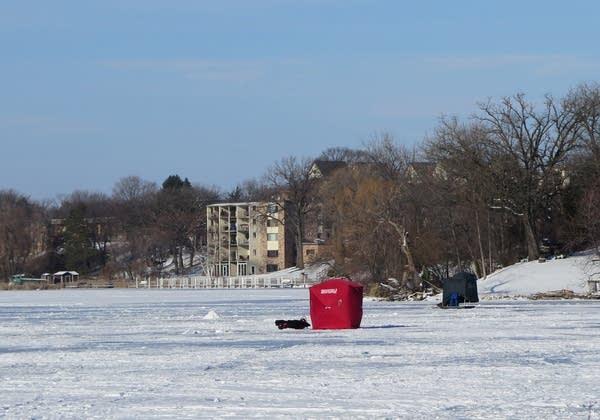 Lightweight fishing shelters on Lake Minnetonka