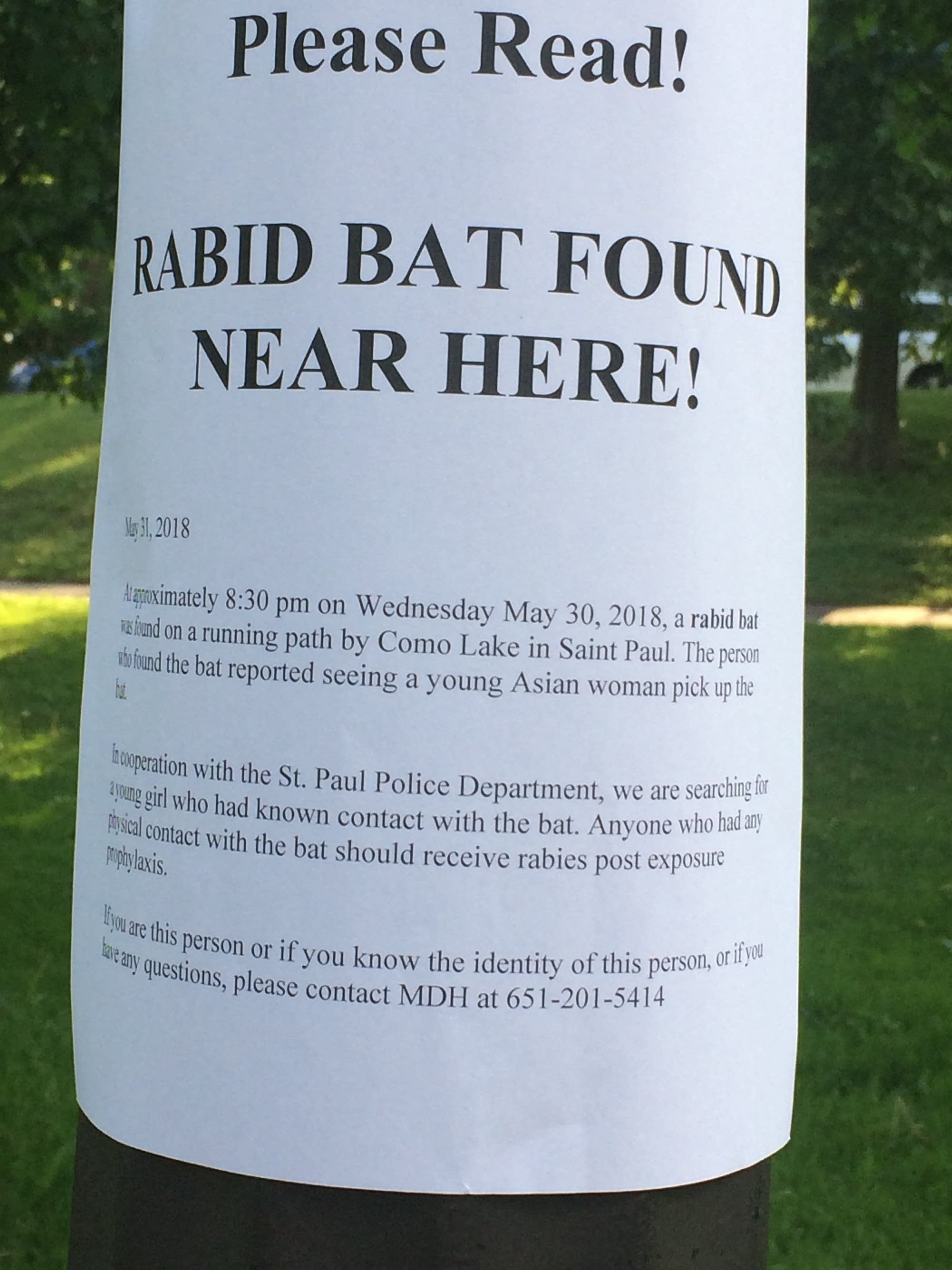 A poster posted around Como Park.
