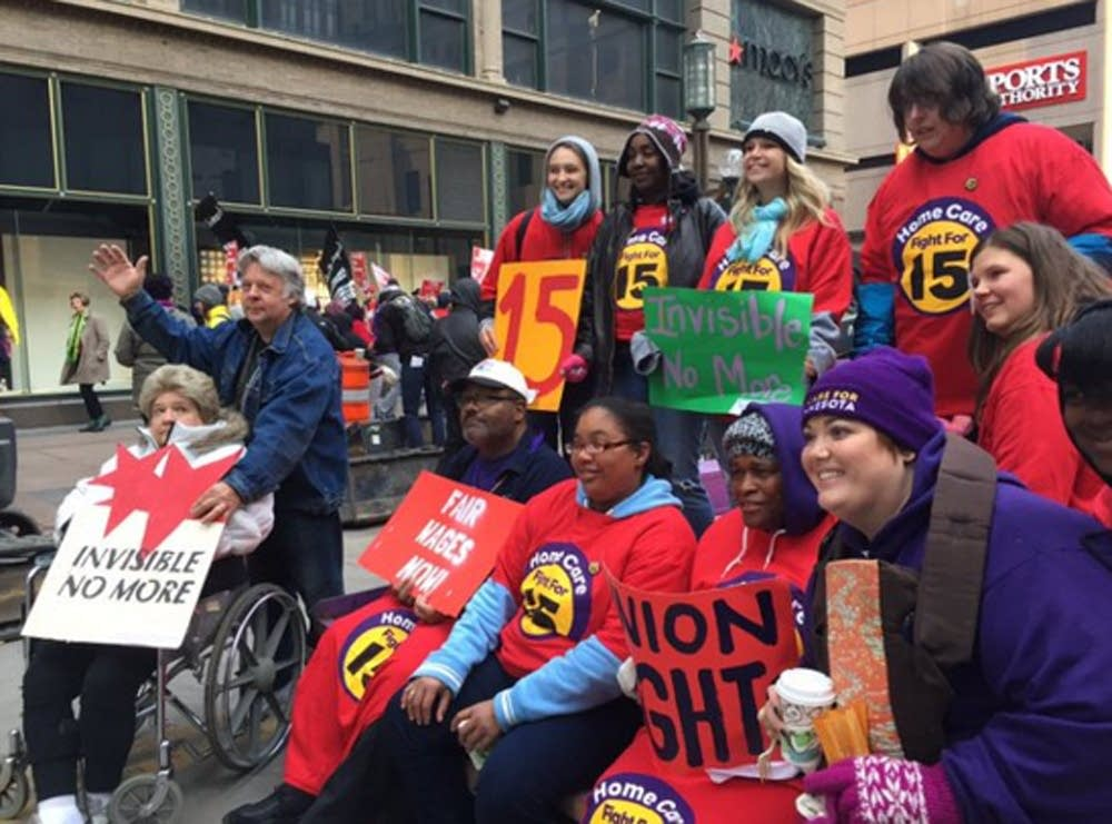 Home care workers supported the demonstrators