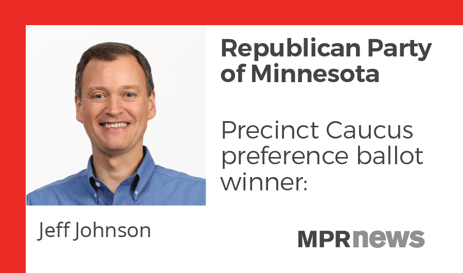 Jeff Johnson won the caucus preference ballot by thousands of votes.