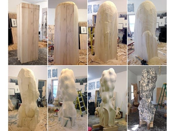 Development of the sculpture over four months.